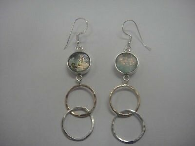 Dangle 925 Sterling Silver Gold Filled Ancient Roman Glass Earrings