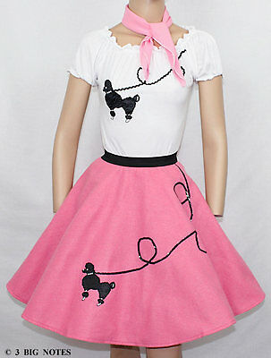 """3 PC Medium Pink 50's Poodle Skirt outfit Girl Sizes 4,5,6 Waist 17""""-21""""  L18"""""""