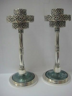 Beautiful 925 Sterling Silver Antique Roman Glass Candlestick Pair