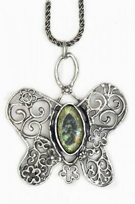 One Of A Kind Ladies 925 Sterling Silver Ancient Roman Glass Pendant Butterfly