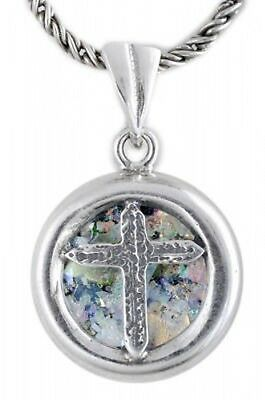 Special Round 925 Sterling Silver Ancient Roman Glass Cross Pendant