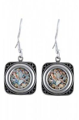 Medallion Dangle 925 Sterling Silver Ancient Roman Glass Earrings