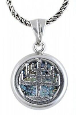 Unusual 925 Sterling Silver Ancient Roman Glass Pendant Menorah Judaica