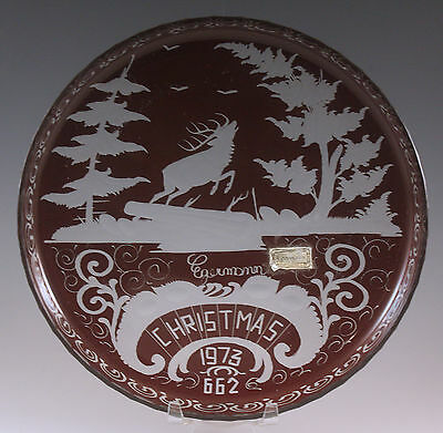 Vintage Egermann 1973 Christmas Glass Plate Ruby Cut To Clear, Bohemia, Signed