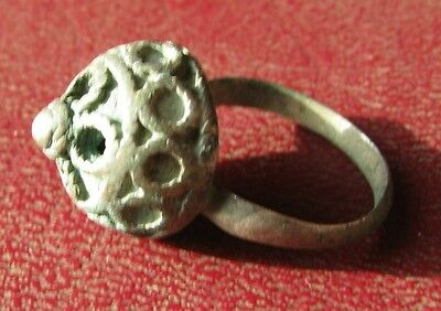 AUTHENTIC ANCIENT SILVER ISLAMIC CRUSADER RING 5 1/4 US 16mm 8681