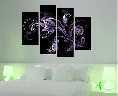 Purple Floral Modern Wall Art On Canvas Print Set Of 4 FRAMED Choice Of Clock