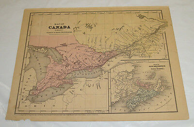 1853 OLNEY Antique Map of CANADA, & NEW BRUNSWICK/Hand-Colored