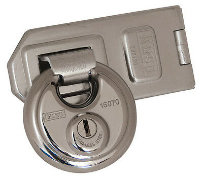 Kasp Disc Padlock & Staple High Security 70mm Stainless Kasp Hardened Steel Lock