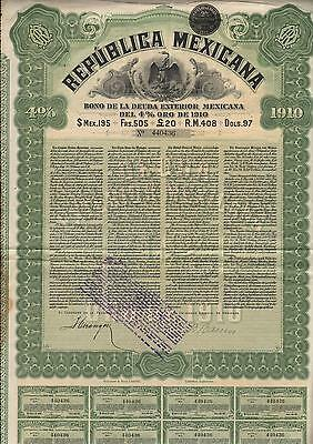 Mexico Republica Mexicana Gold Bond 1910 With Coupons