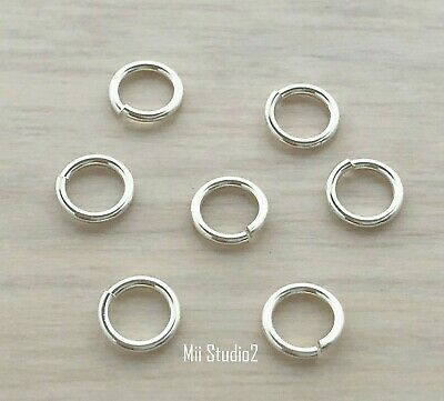40x 19.5 gauge 6mm solid sterling silver round OPEN O JUMP RING bright 925 R06s
