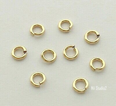 50pcs 4mm 14k YELLOW gold filled round OPEN O JUMP RING made in USA R04g