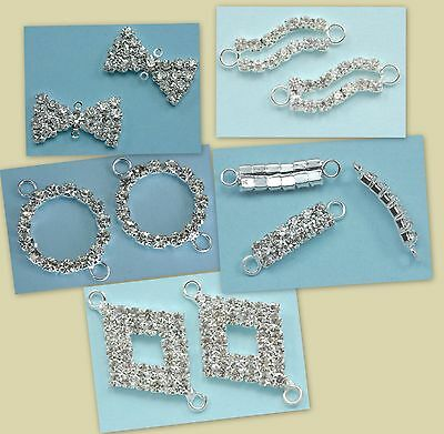 10x Rhinestone Diamante Silver Plated Connectors Joiners Beads