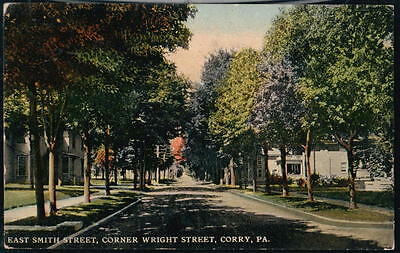 CORRY PA East Smith Street Corner of Wright Antique Town View Postcard Old Vtg