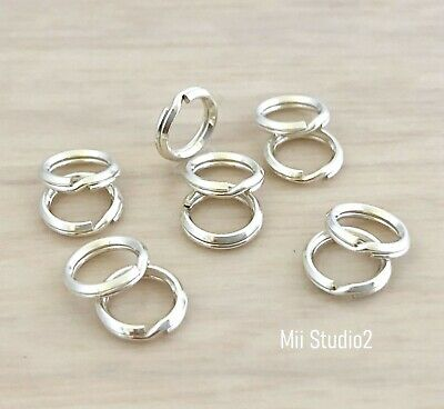 20pcs 7mm solid sterling silver round Split JUMP RING 925 Key chain style R17s