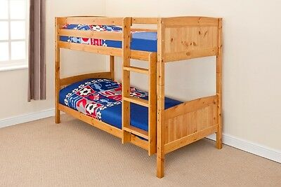 Wooden Bunk Bed Kids Childrens Single PINE,WHITE or GREY 3ft Christopher