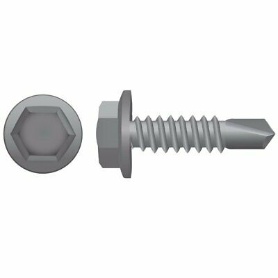 10-16 x 16mm Galvanised Hex Coarse Self Drilling Screws 1000pc Metal/Steel (tek)