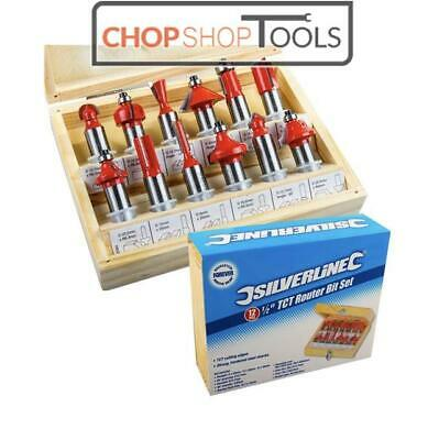"Silverline 1/2"" TCT Router Bit Set 12pce Power Tools Accessories 763555"