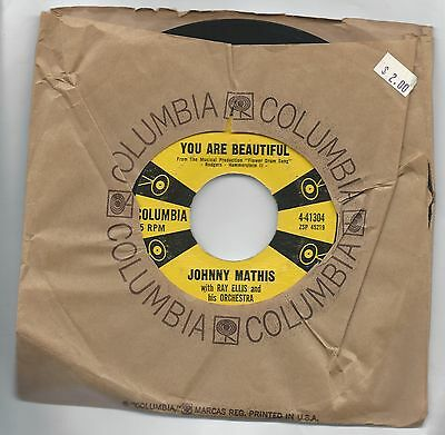 JOHNNY MATHIS LET'S LOVE/YOU ARE BEAUTIFUL 45 RPM COLUMBIA 4-41304