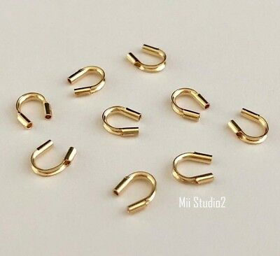 """50x 0.021"""" small 14k yellow Gold Filled wire guardian protector Thimble F01g"""