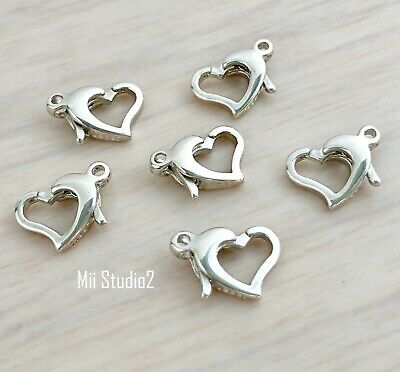 3x Heart Clasp solid 925 sterling silver bright trigger closure with ring F40s