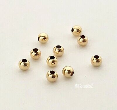 100x 2mm 14k gold filled Round seamless bead spacer mini shiny plain yellow S02g