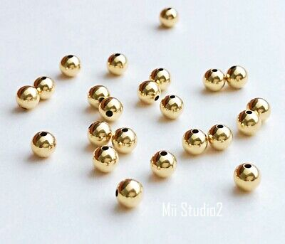 50x 4mm 14k gold filled Round seamless bead spacer small shiny plain yellow S04g