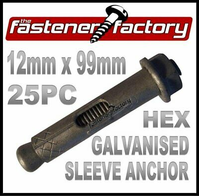 12mm x 99mm 25pc Galvanised Masonry Sleeve Anchors (Dynabolts/Dyna bolts type)