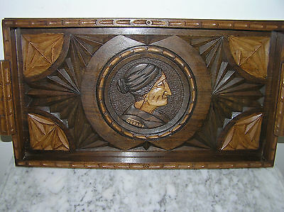 Antique French Hand Carved Wooden Serving Tray.
