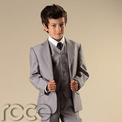 Boys Dove Grey 3pc Wedding Pageboy Formal Communion Prom Outfits Suit 6m - 16y