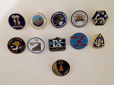 Gemini Mission Lapel Pin Collection 11 Pins NASA Space Program Neil Armstrong