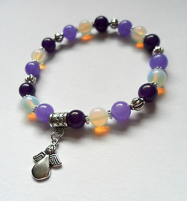 amethyst jade opalite healing gemstone bracelet with made for an angel charm