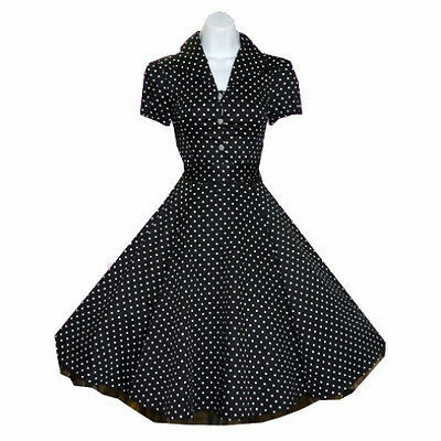 BLACK PINUP LUCY 50's DRESS white Polka dot Housewife Rockabilly 6839