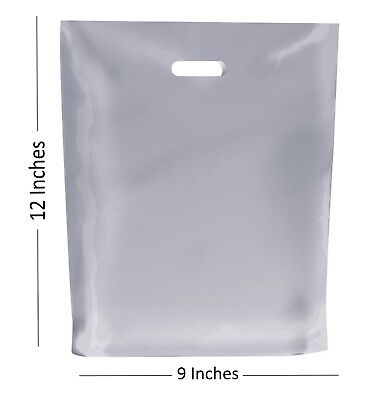 100 - FROSTED PLASTIC BAGS / GIFT SHOP CARRIER BAG - 9 x 12 INCHES