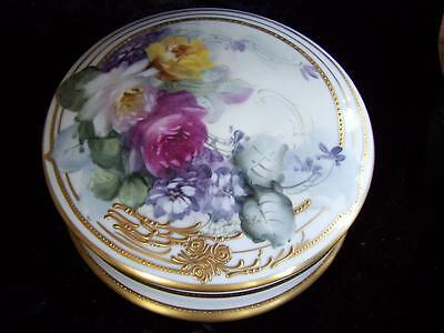 Hand Painted Cuff and Collar/Trinket Dresser Box Rose Motif Artist Signed