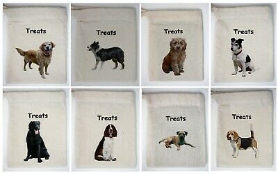 Cotton Dog Treat Bag - Add your own Treats, Breeds from Greyhound to Yorkie