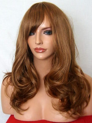 Light Brown Auburn Lady Long Curly natural party FULL WOMEN LADIES HAIR WIG A-10