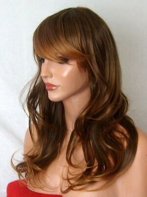 Light Brown Ombre Fashion long curly natural party full lady ladies hair wig P3