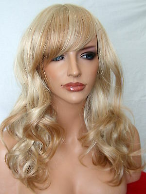 Wig Curly Women Fashion bang Fringe Strawberry Blonde party full Ladies Wig A7