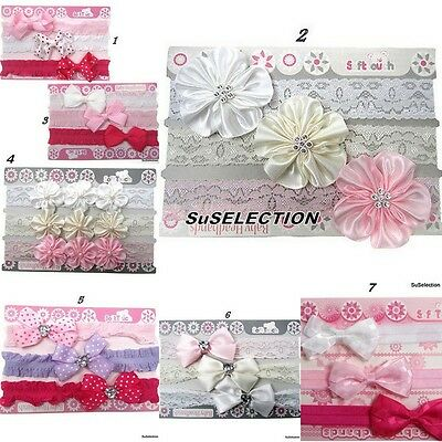 Soft Touch Baby Girl Headband Set Of 3-Gorgeous Colours- 2 Designs-Very Cute-New