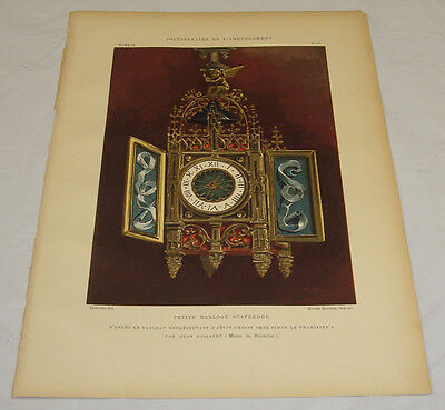 c1890 Antique COLOR Print/SMALL DECORATIVE HANGING CLOCK, WITH DOORS