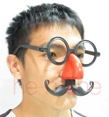 Halloween Eye glasses  with Big Red Nose and Mustache Mask - 8804