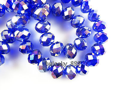 3~14MM Faceted Rondelle Loose Finding Glass Crystal Spacer Bead AB Royal Blue