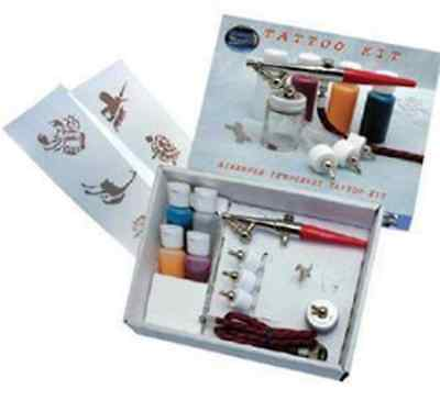 Paasche HS #3 Single Action Airbrush Temporary Tattoo Set, Paints & Stencils