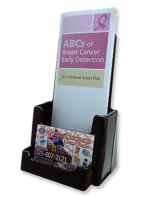 Black tri Fold Literature Brochure Holder for 4x9 Fast Shipping
