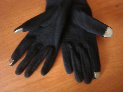 X Large Womens Black RUNWAY Echo Touch Screen Gloves I-Phone Wool Blend