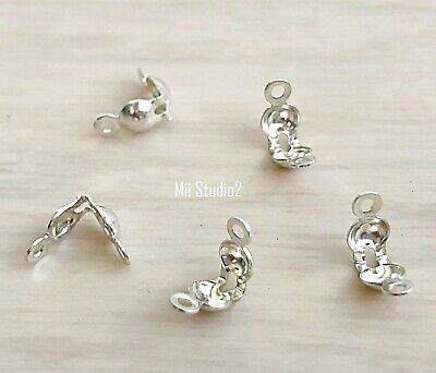 30x 3.5mm bead sterling silver Clamshell clam shell bead tip knot cover F08s