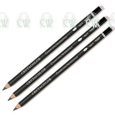 3 X Cretacolor Artists CHARCOAL Pencils. SOFT for Drawing & Sketching