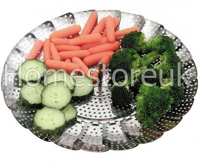 Stainless Steel Food Vegetable Steamer Basket Pan Veg Cooker Cooking Colander