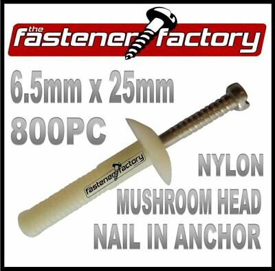 6.5 x 25mm 800pc Nylon Nail In Plug (Masonry Anchor) Mushroom Head (Knock Ins)