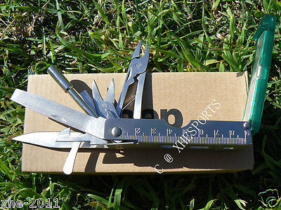 Jeep 2012 16 in one Camping Stainless Multi Tool Scissors Knife + Nylon Pouch